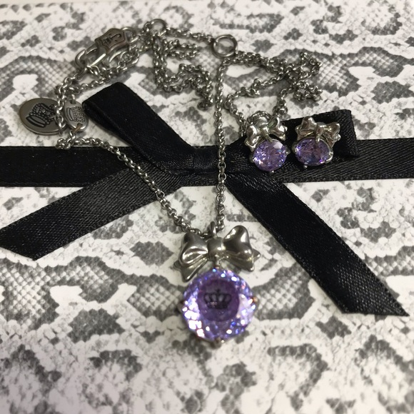Juicy Couture Jewelry - JC purple necklace and matching earrings set